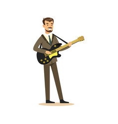 musician man wearing a classic suit playing guitar vector image vector image