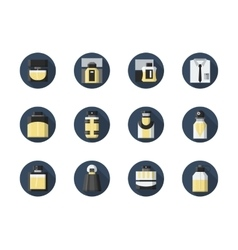 Perfume for men round flat icons set vector image vector image