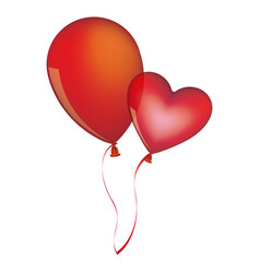 red balloons flying romantic celebration vector image