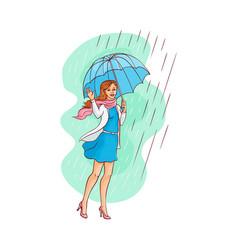 sketch young woman walking umbrella rain vector image