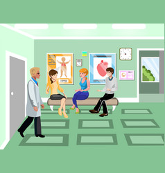 turn to doctor in hospital concept vector image