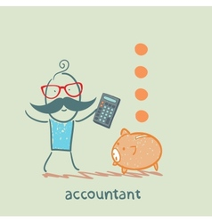 accountant with a calculator counting money vector image vector image