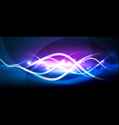 bright neon lines wave vector image