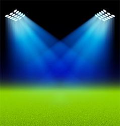 Bright spotlights illuminated green field stadium vector
