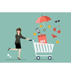 Business woman add clothing and accessories into vector