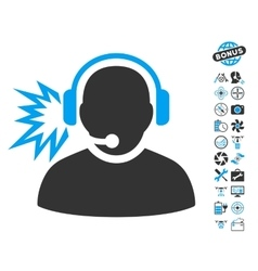 Operator Message Icon With Copter Tools Bonus vector image vector image