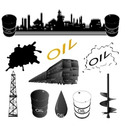 Set oil industry facilities vector image