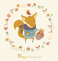 Autumn image with a squirrel vector image
