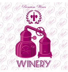 background with wreath winery for wine vector image vector image