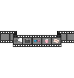 Film strip icon set popcorn clapper board 3d vector