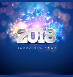 Happy new year 2018 with firework and vector