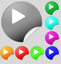 play icon sign Set of eight multi-colored round vector image vector image