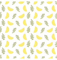 seamless floral pattern lemon fruits background vector image