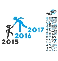 Years Guys Help Flat Icon With Bonus vector image vector image