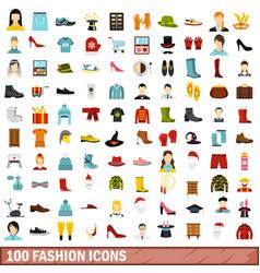 100 fashion icons set flat style vector image
