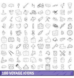 100 voyage icons set outline style vector