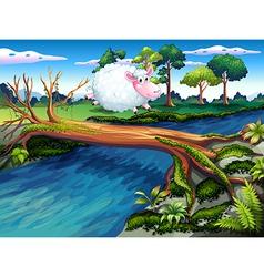 A sheep crossing river vector