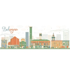 Abstract Bologna Skyline with Color Landmarks vector image