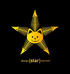 Abstract design element star with cat face and vector image