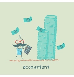 Accountant with a calculator considers a lot of vector