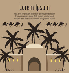 Arabian house palm tree camels backround vector