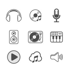 Audio icon set white version design vector