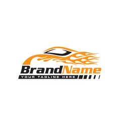 Automotive speed car with flame logo vector