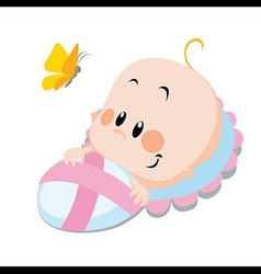Baby with butterfly vector
