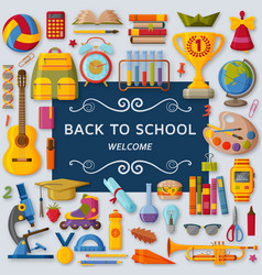 back to school background with 3d paper cut signs vector image