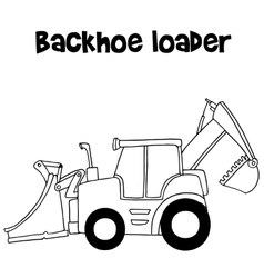 Backhoe loader cartoon vector