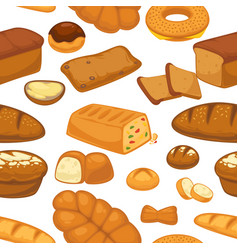 bakery products pastry seamless pattern wheat vector image