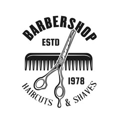 barbershop emblem with scissors and hair comb vector image