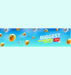 biggest summer sale creative banner with flying vector image