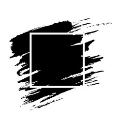 black paint brushstroke with frame grunge texture vector image