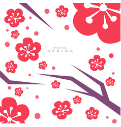 blooming sakura traditional asian pattern card vector image