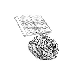 Book and mind vector