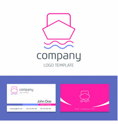 Business card design with boat company logo vector