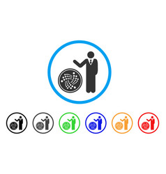 Businessman show iota coin rounded icon vector