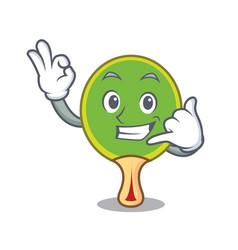 call me ping pong racket mascot cartoon vector image