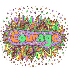 cartoon art with mandala and courage word doodle vector image