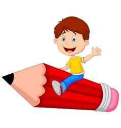 Cartoon boy riding flying pencil vector image