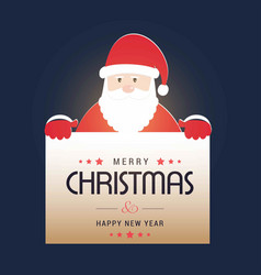 Christmas card with santa clause with blue vector