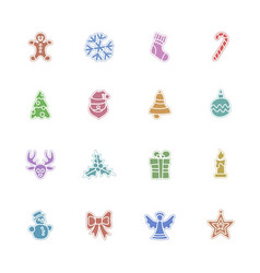 christmas color icon set vector image