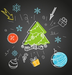 Christmas sale doodle elements vector image