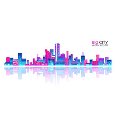 City scape with colorful various buildings vector