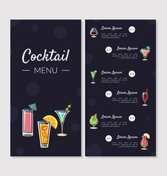cocktail menu template alcoholic bar menu with vector image