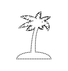 coconut palm tree sign black dashed icon vector image