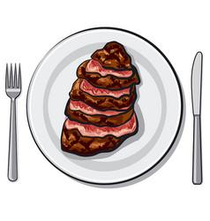 Cooked beef steak vector