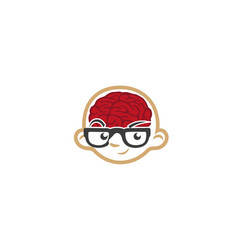 Creative kid brain geek face logo vector