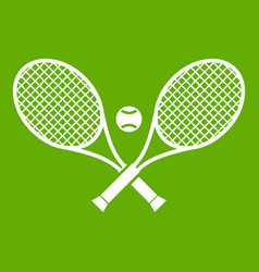 crossed tennis rackets and ball icon green vector image